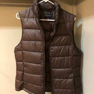 Brown puffy vest from Banana Republic